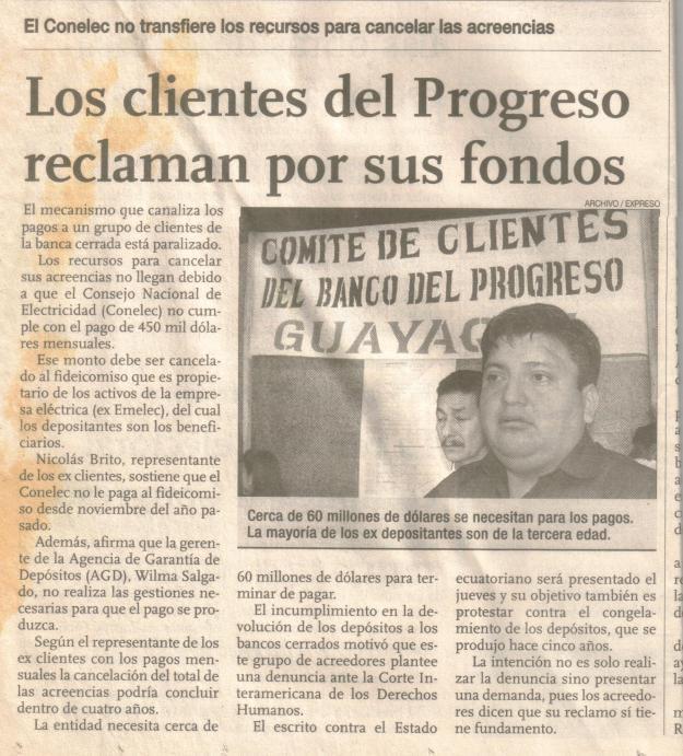 10 marzo 2004 Clientes del Progreso reclaman fondos. Expreso