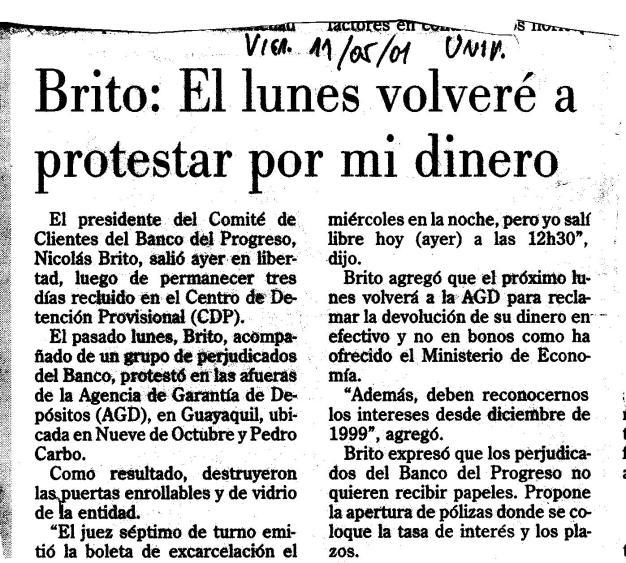 11 may 2001 Salida de Prisión
