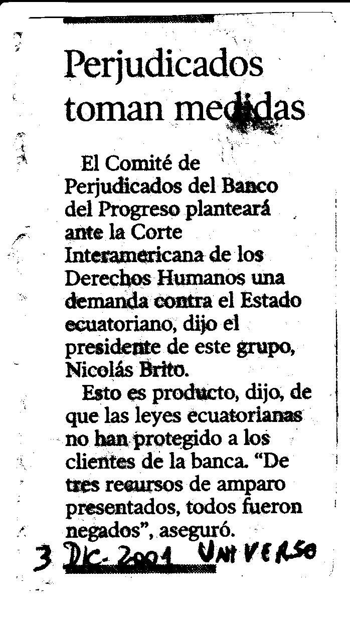 3 Dic 2001 Denuncia contra Ecuador El Universo