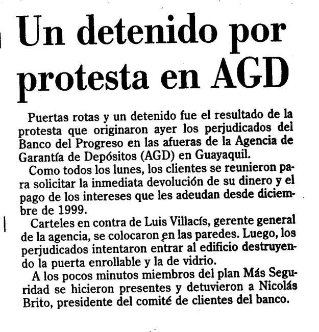 Detención 8 mayo 2001 El Universo