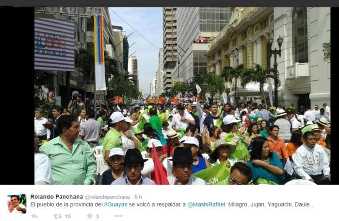 Imagen tomada del tuit del gobernador Rolando Panchana el 15 Nov 2014