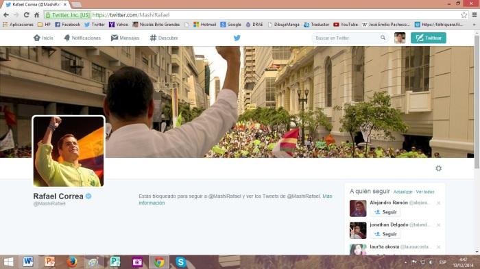 Fotografía de la cuenta de Twitter del presidente Correa, abierta desde mi cuenta