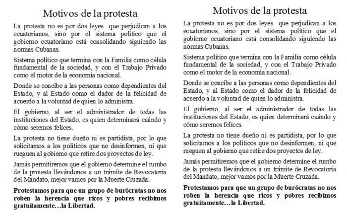 Motivos de la protesta