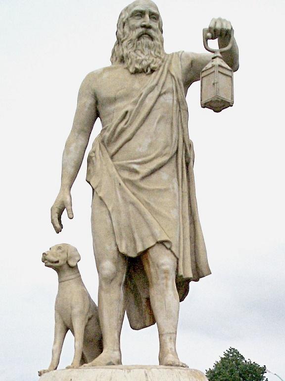 Diógenes de Sinope buscando un hombre honrado