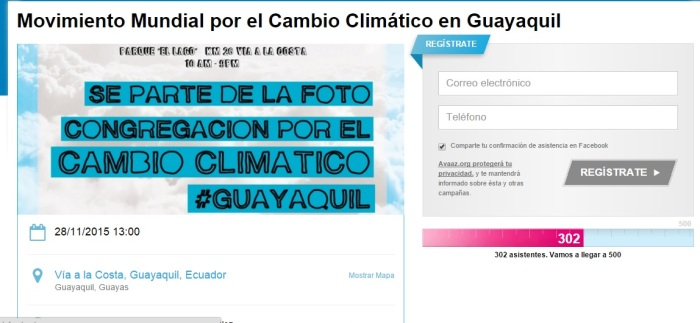 Evento en Guayaquil por el Cambio Climático https://www.facebook.com/events/968874256505624/
