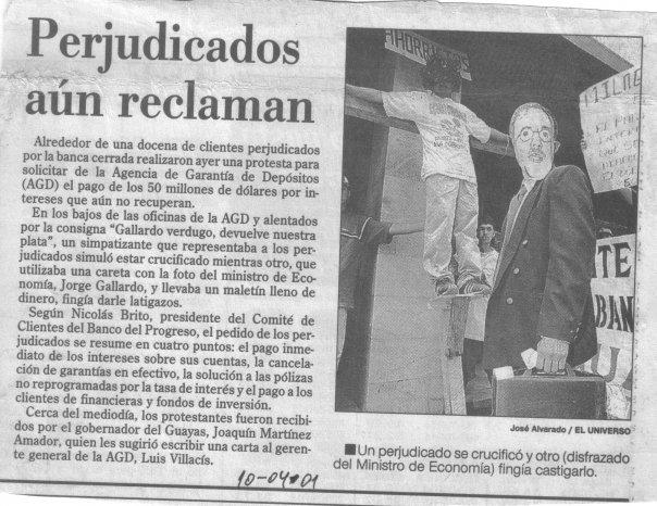 Protesta para Semana Santa del año 2001 El universo