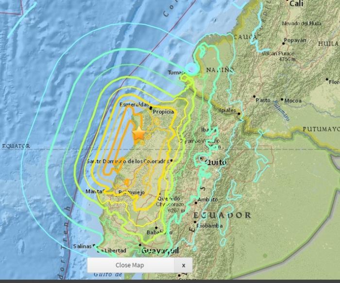 Mapa de la intensidad del terremoto del Servicio Geológico de EEUU